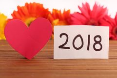 Happy new year. Beautiful shot of 2018 written on white chit Royalty Free Stock Images