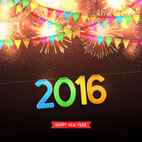 Happy New Year, 2016. Beautiful vector background with fireworks and with a garland from flags and confetti. Vector illustration vector illustration