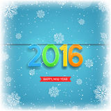 Happy New Year, 2016. Beautiful vector ice background with snowflakes. Vector illustration stock illustration