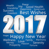 2017 Happy New Year. Best wishes greeting card. 2017 Happy New Year. Best wishes. Blue and silver greeting card Royalty Free Stock Photo