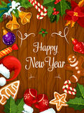 Happy New Year best wishes poster. Happy New Year greeting card or poster. Best Wishes congratulations from New Year holiday celebration Stock Photos