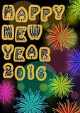 Happy new year billboard with firework stars in vivid colors, original font inscription, bokeh light on background. Useful for new Royalty Free Stock Images