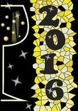 2016 Happy new year billboard with wine glass, grunge mosaic background in yellow Royalty Free Stock Photos