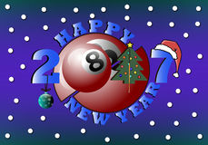 Happy new year and billiard ball. Happy new year 2017 and billiard ball with Christmas tree, cue, ball and hat. Vector illustration Stock Image