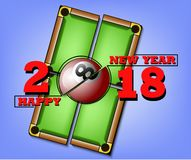Happy new year and billiard ball. Happy new year 2018 and billiard ball against the background of a billiard table. Vector illustration Stock Photography