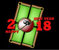 Happy new year and billiard ball. Happy new year 2018 and billiard ball against the background of a billiard table. Vector illustration Royalty Free Stock Images