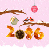 Happy new year 2016 with birdhouse for winter. Gold clock geometrical Royalty Free Stock Photography
