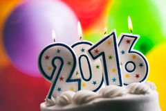 Happy New Year 2016 Birthday Candles On Cake stock photo