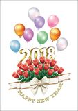 Postcard Happy New Year 2018 with a bouquet of roses Royalty Free Stock Image