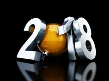 Happy new year 2018 on black background Royalty Free Stock Photos