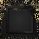 Happy New Year 2018 black background with black frame and gold snow. Vector.  Stock Photo