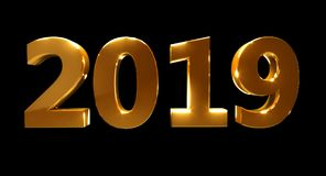 Happy New Year 2019 on a black background. Golden 3D numbers Royalty Free Stock Photo