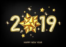 2019 happy New Year black background with golden gift bow. 2019 happy New Year black background with golden gift bow and glittering stars. Gold decoration with vector illustration