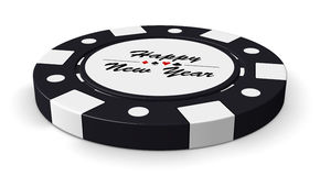 Happy New Year black casino chip Stock Photography