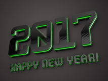 2017 happy new year. Black glossy extruded text with green lights 3D render Stock Images