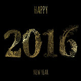 2016 Happy New Year. Black and gold card Happy New Year Stock Photos