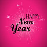 Happy New Year Black Lettering Typography and Bright Little Stars on a Pink Background. Happy New Year Black Lettering Typography and Bright Little Stars with vector illustration