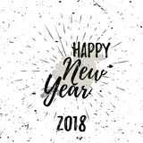 Happy New Year Black Lettering Typography with burst on a Old Textured Background. Vector illustration for cards Royalty Free Stock Photos