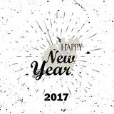 Happy New Year Black Lettering Typography with burst on a Old Textured Background. Vector illustration for cards, banners, print Stock Images