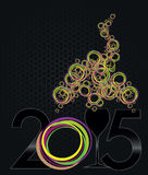 Happy new year. With black number and glass Stock Illustration