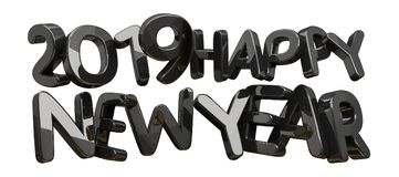 2019 happy new year black rounded design isolated 3d. Rendering illustration Royalty Free Stock Photography