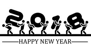 2018 happy new year black simple style eight. For web Stock Photos