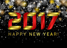 Happy new year 2017. Black space abstraction. Happy new year. Card. Gold template over black background with golden lights. Vector illustration Royalty Free Stock Photo