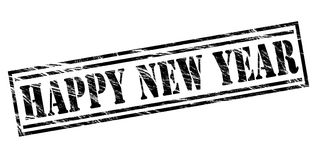 Happy New year black stamp Royalty Free Stock Photography