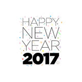 Happy New Year. Black Happy New Year 2017 text with confetti elements on white background. Vector typographic design Royalty Free Stock Photography