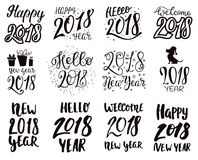 2018 happy New Year black text logo for holiday calendar print design or Christmass newborn yearly party illustration Stock Photos