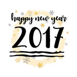 Happy New Year 2017 Black Typographic Vector Art. White Background Royalty Free Stock Photo