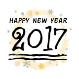 Happy New Year 2017 Black Typographic Vector Art. White Background Stock Image