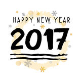Happy New Year 2017 Black Typographic Vector Art. White Background Royalty Free Stock Photography