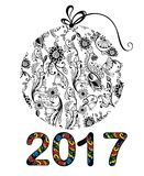 Happy New Year 2017. Black and white New Year ball 2017 Royalty Free Stock Photos