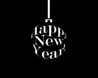 Happy new year black and white christmas ball. Vector illustration Stock Photo