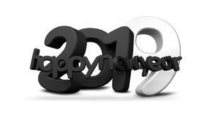 2019 happy new year black white 3d rendering. Illustration Royalty Free Stock Images