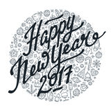 Happy New Year 2017 black and white lettering. Black and white lettering on different icons background. Happy New Year lettering for greeting card with new year Stock Photo