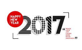 Happy New Year 2017 black and white vintage design. Happy New Year 2017, retro design illustration with black and white number, text quotes. EPS10 vector Royalty Free Stock Photo