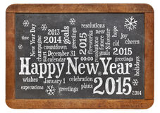 Happy New Year 2015 on blackboard. Happy New Year 2015 word cloud - white chalk text  on a vintage slate blackboard isolated on white Stock Photography