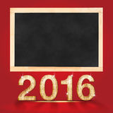 Happy new year 2016 with blank blackboard in red studio room,moc. K up for adding your text Royalty Free Stock Images