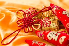 Happy New Year blessing bags, wishful knot, Chinese knot, meaning booming peppers.  Stock Photos