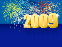 Happy new year blue. Celebrate the midnight shoot for the arrival of 2009 on a blue background Royalty Free Stock Photo