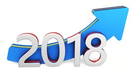 Happy new year 2018 text with blue arrow. Happy new year 2018 with blue arrow on a white background 3D illustration Stock Image