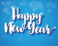 Happy New Year On Blue Background, Greeting Card Illustration Paper Art Stock Images