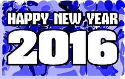 Happy new year 2016 in blue background. Image usable in all projects about new years day Royalty Free Stock Images
