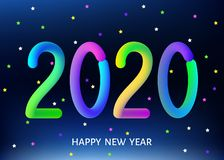 2020 happy New Year blue background with multicolored gradient number. 2020 happy New Year blue background. Christmas decoration with  multicolored gradient stock illustration