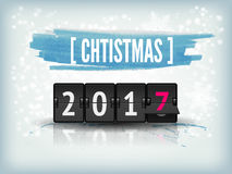 Happy New Year blue background with snowflakes and scoreboard. Vector Illustration Holiday with snowflakes background and 2017 numbers. Happy New Year abstract Stock Photo