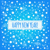 Happy New year blue background with white snowflakes vector greeting card. Happy New year blue background with white snowflakes vector Royalty Free Stock Photos