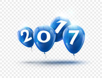 Happy New Year 2017 blue balloons design. Greeting card with blue balloons celebration decoration on transparent.  Royalty Free Stock Photography
