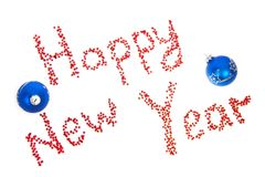 Happy New Year with blue balls Stock Photo